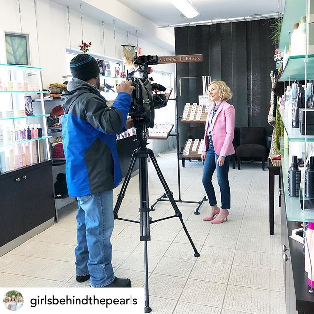 Posted @withrepost • @girlsbehindthepearls A little #behindthescenes from today's spotlight on @wjztv! Check out @pearlsforpupsco at 6 and 11 tonight, and 5,6,7, and 9AM tomorrow morning! #pearlsforpups #pearlsforpupsco #wjz #spotlight #interview #thingsarehappening #girlsbehindthepearls #donate #rescue #nonprofit