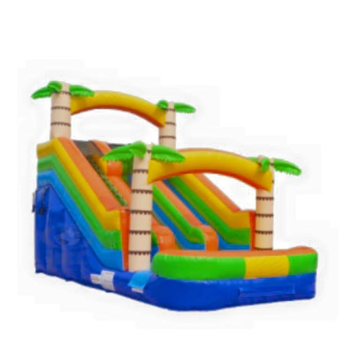 Adventure Island Slide - Ages: 2 to Adultinflated dimensions:22'L x 12'W x 15'HMax Weight: 200 lbs. per person*can be used wet or dry*