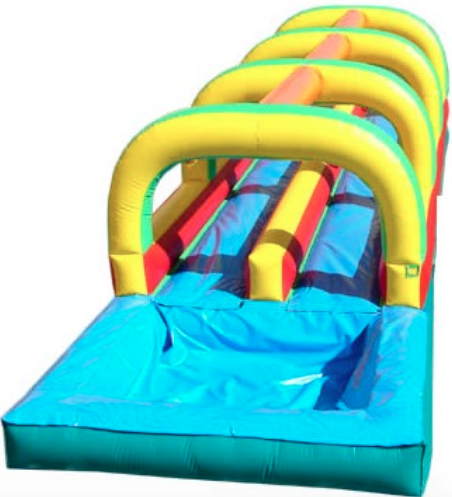 DUAL LANE SLIP N' SLIDE - ENJOY A 30 FT LONG RIDE WITH A SPLASHOR RACE YOUR FRIENDSUNIT IS 30' LONG & 12' WIDEFOR YOUR SLIDING PLEASURE