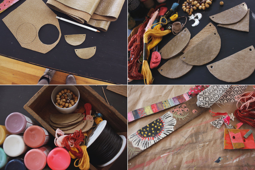 Painted Faux Leather Jewelry DIY by Laura Macurak