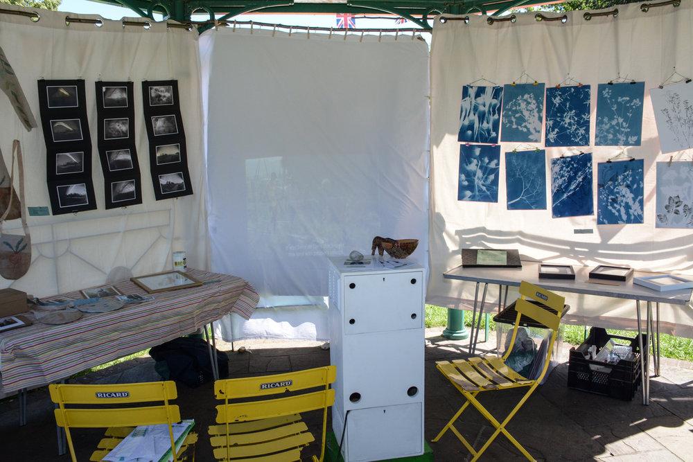 Farnham Eco-Cinema set up in the bandstand.