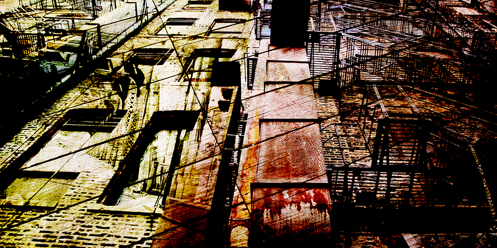 "Nick Haas Art Aspersion of a Borough 60"" x 30"""