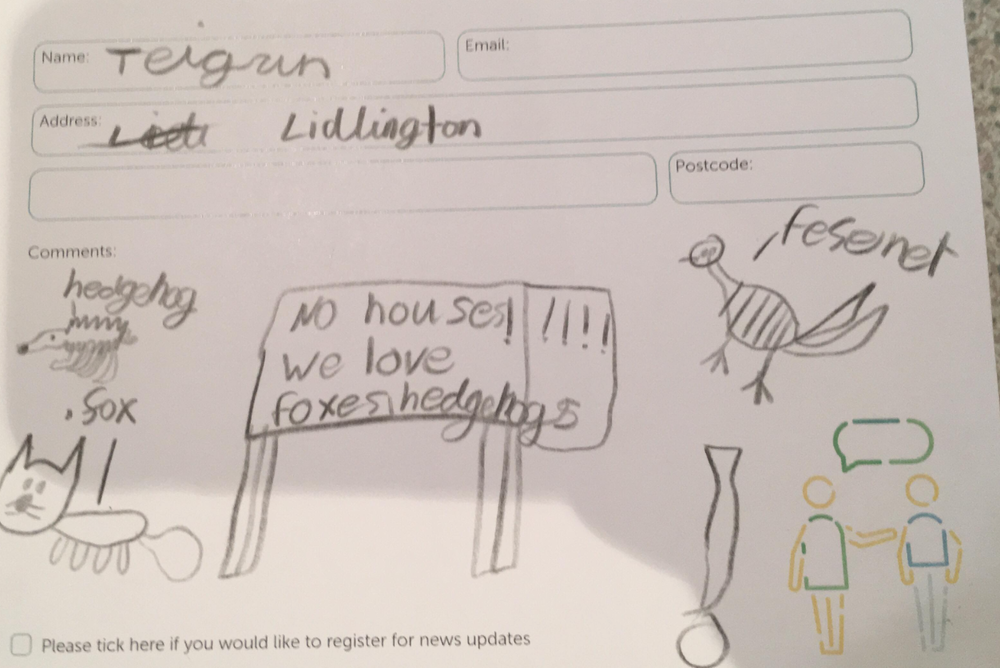 One 6 year old resident responds to the O & H consultation. Brilliant Teigan!