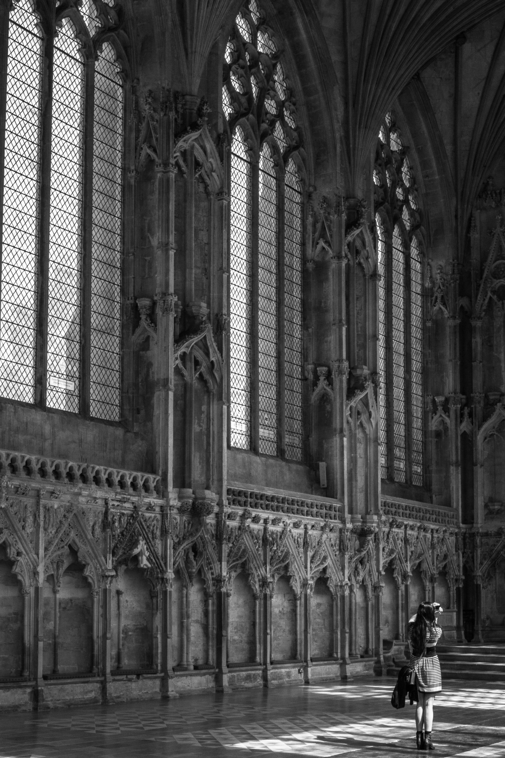 Ely Cathedral, north of Cambridge. Extremely holy. 935 years old. My step brother took me here and it's fantastic. We crawled all the way to the top through Peter Dinklage doors and spiral staircases that would make Morgan and Morgan salivate. It was defaced pretty extensively during the Reformation, but they left this chapel on the side and I had about .003 seconds to snap this photo of a total stranger.