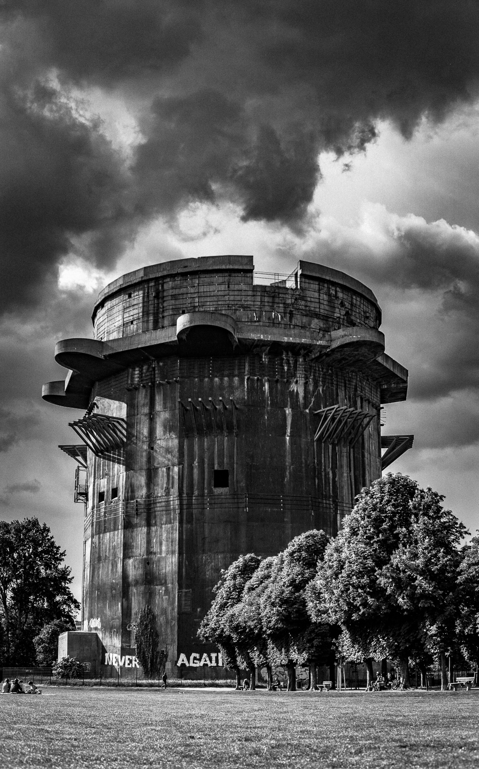 A storm rolling in over the old flak tower in Vienna. They mounted anti-aircraft guns here during the war.. The reinforced concrete walls are 11 feet thick in some places and, with all guns engaged, it could put 8,000 rounds per minute into the air.
