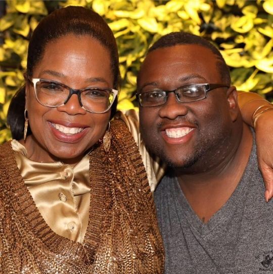 Oprah Winfrey (L.) and Rashaad King (R.)
