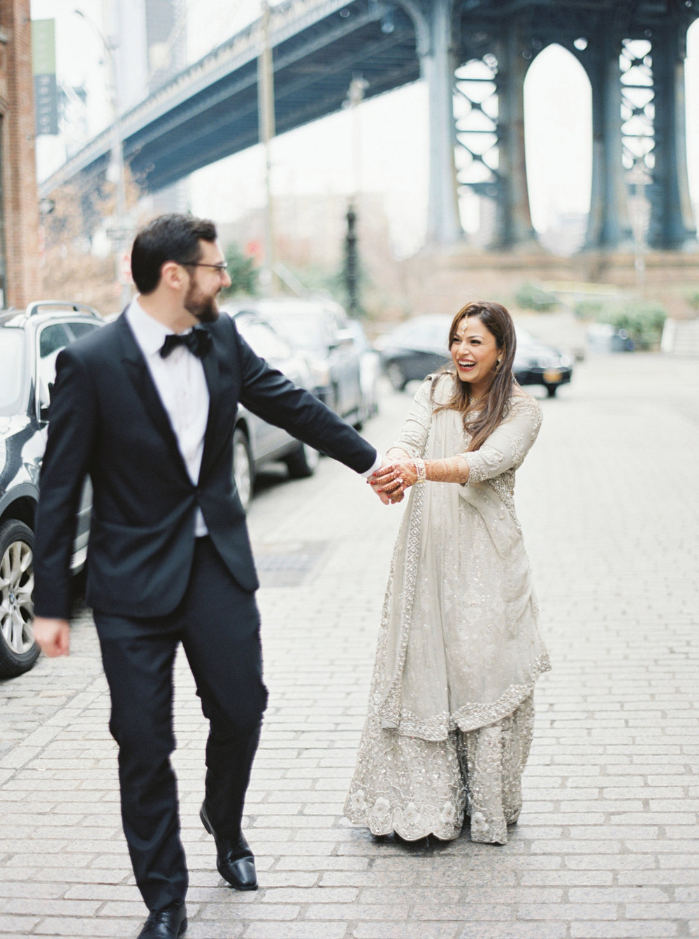 Fun Couple Portrait | Colorful & Sweet Brooklyn Wedding | The Green Building