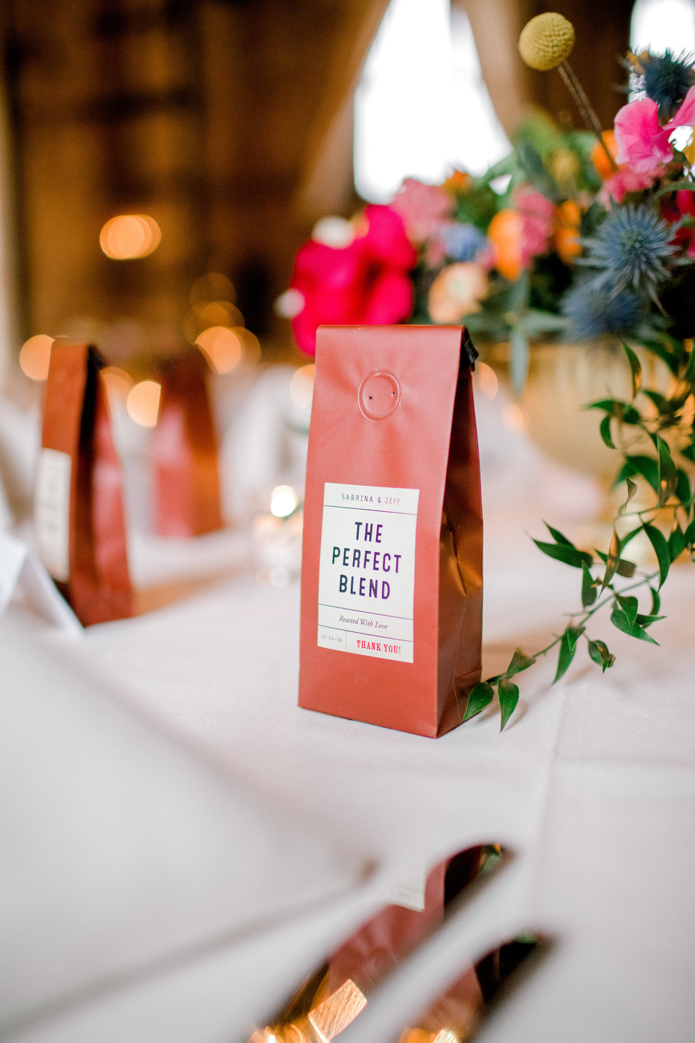 Custom Coffee Favor | Details | Colorful & Sweet Brooklyn Wedding | The Green Building