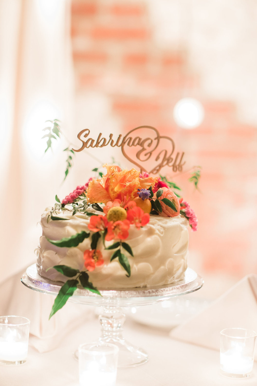 Small Wedding Cake & Custom Cake Topper | Colorful & Sweet Brooklyn Wedding | The Green Building