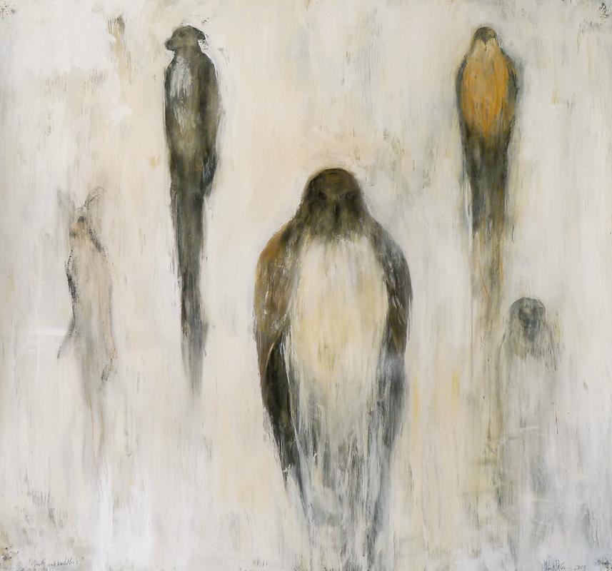 """""""Hawk and Buddhi,"""" 2012-2014 Casein, conte, mixed media 48 x 51.5"""
