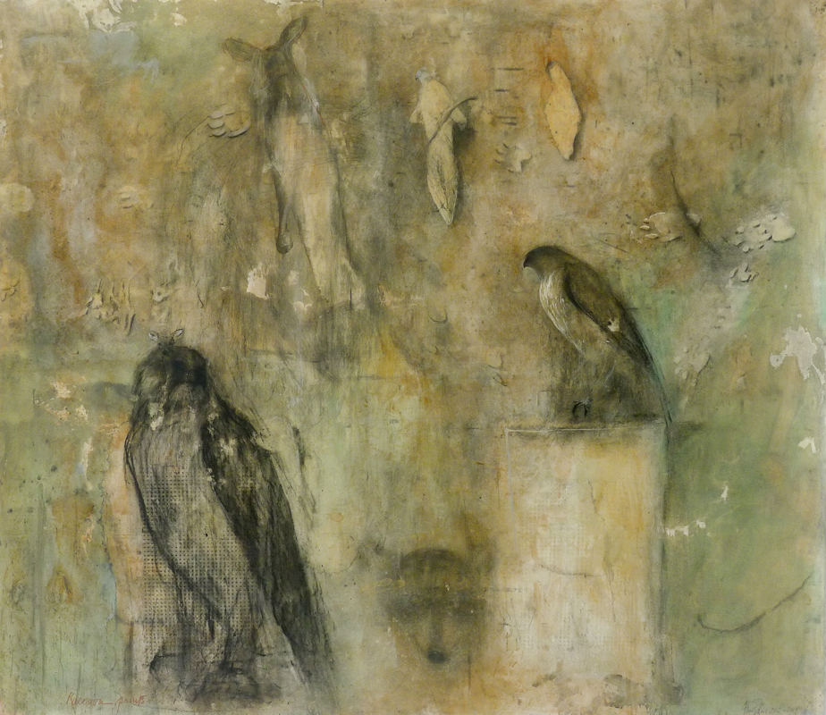"""Raccoon Prints"", 2012-2014 Suntan oil, casein, chalk, beeswax 45 x 52"