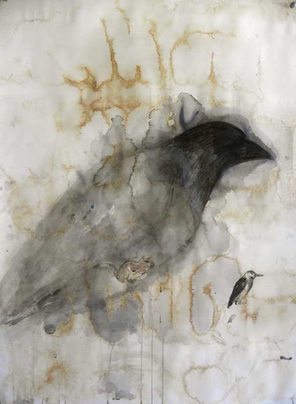"""Raven Deck,"" 2010 Korean watercolor, sumi-e ink, coffee, and beeswax on Japanese paper 30 x 22"