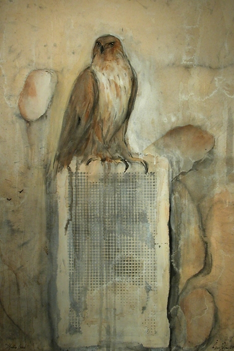 """Studio Bird,"" 2008 Egg tempera, goache, and ink on Arches paper 30"" x 22"""