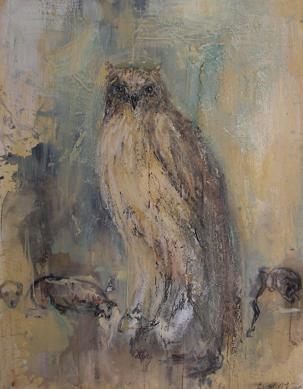 """Owl - Beeswax,"" 2007 Beeswax and pigment on Arches paper 30 x 22"