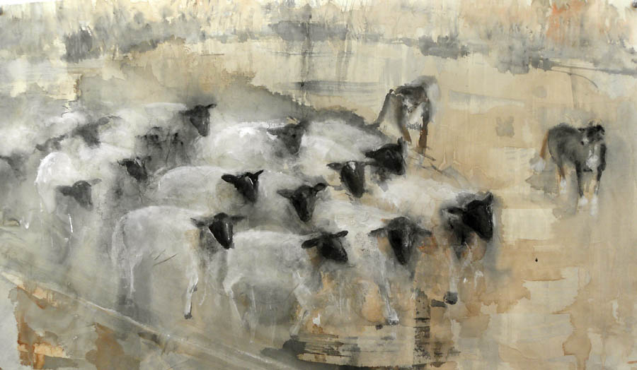 """Herd Dogs Herding,"" 2010 Korean watercolor on Japanese paper 16 x 28"