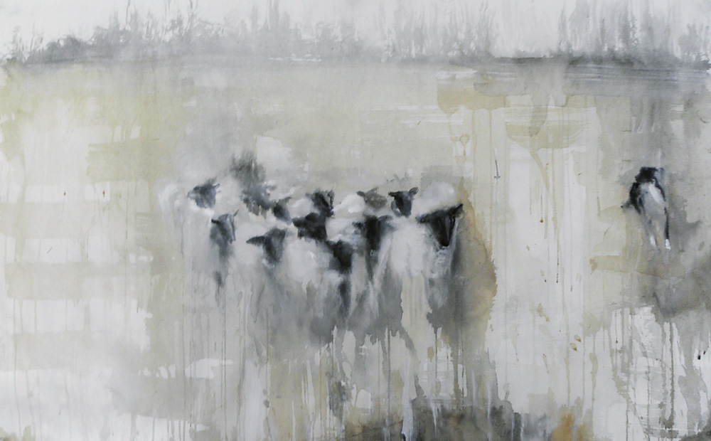 """Herding,"" 2010 Korean watercolor, sumi-e ink, and coffee on Japanese paper 24.5"" x 39"""