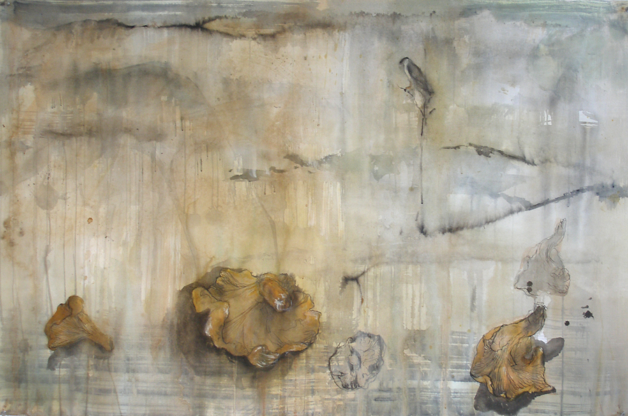 """Chanterelles,"" 2010 Coffee, ink, gouache, casein, and beeswax 31 x 48"