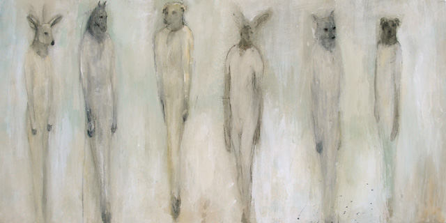"""Change of Coat,"" 2009 Casein, charcoal, rabbit skin glue, and paper on wood 24 x 48 x 1"