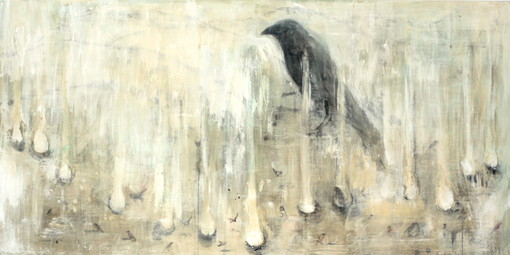 """Change of Tune,"" 2009 Casein, charcoal, rabbit skin glue and paper on wood 24 x 48 x 1"