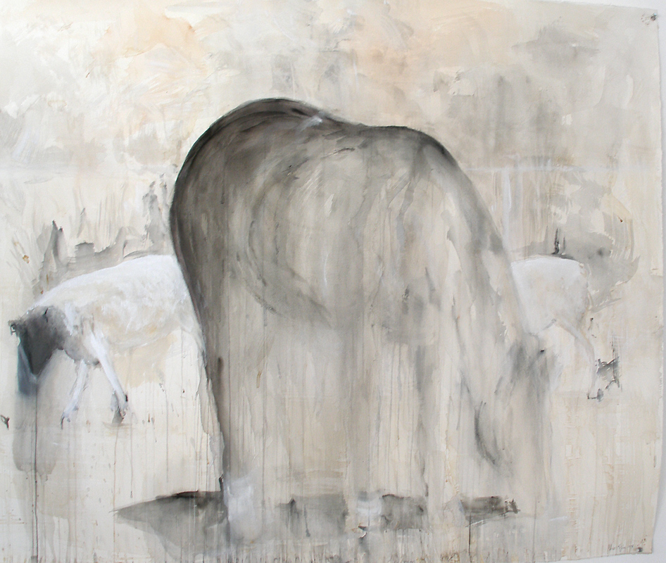 """""""Rosa Bonheur,"""" 2008 Coffee, casein, and ink 42"""" x 52"""""""