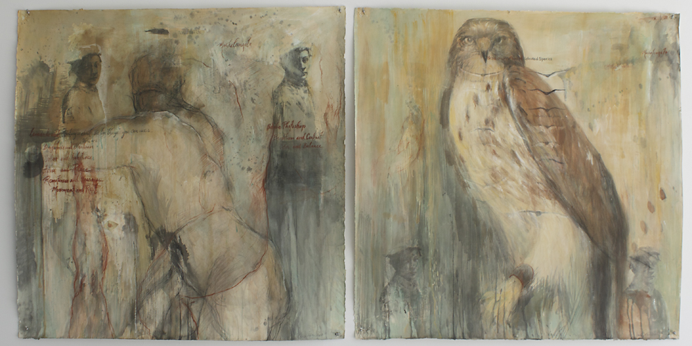"""Leonardo Diptych"", 2001 Casein and ink on paper 42"" x 42"" each"