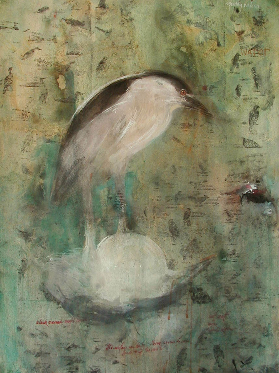 """Black Crowned Night Heron"",	2001, Casein and ink on paper, 30"" x 22"""