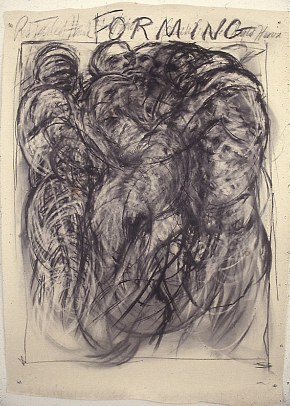 """Forming"", 1986 Charcoal on paper, 60"" x 42"""