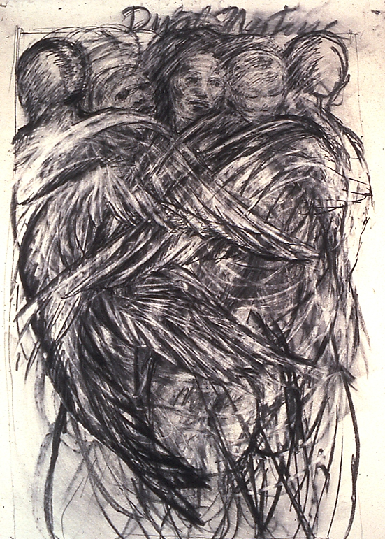 """Dual Nature"", 1986 Charcoal on paper, 62"" x 42"""
