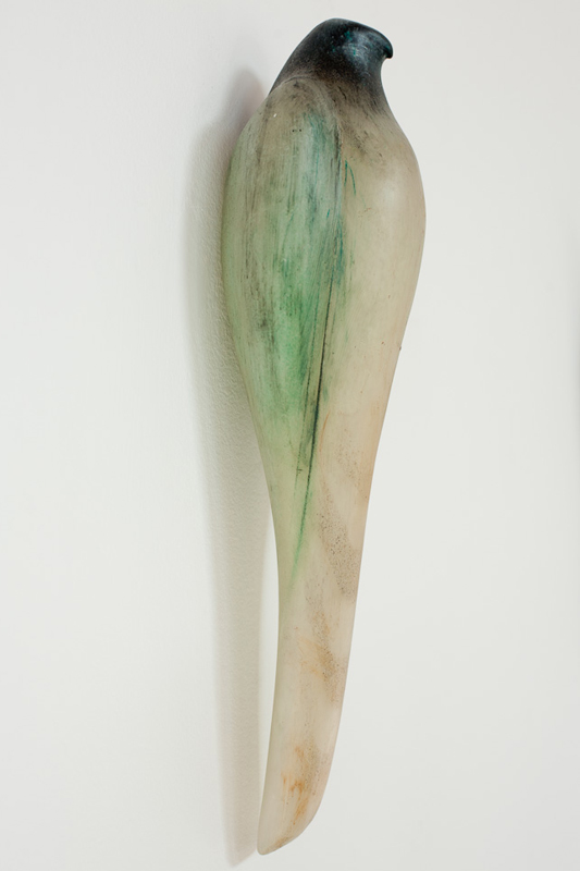 """Egyptian Celadon,"" 2012 Hand blown pigmented glass 16 x 5 x 4 inches"