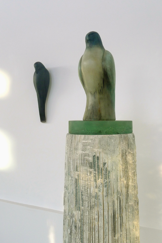 """Chinese Celadon,"" 2012 Hand blown pigmented glass, kiln cast glass, Chinese sumi-e ink on pigmented limestone 63 x 8 x 14 inches"