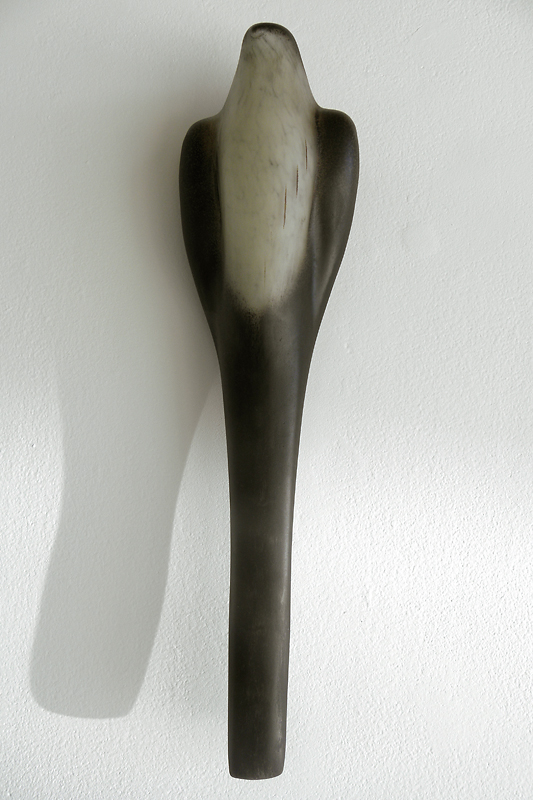 """Long Bird,"" 2010 Hand blown pigmented glass 18 x 5 x 3.5 inches"