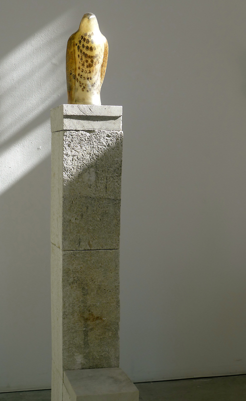 """Lace Lola,"" 2011 Hand blown pigmented glass and limestone 78 x 10 x 24 inches"
