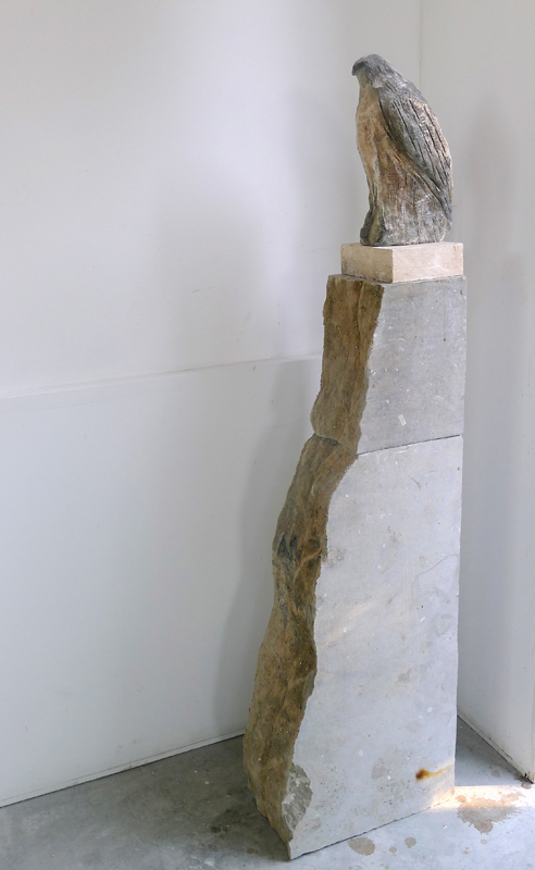 """Sparrow Hawk,"" 2014 Limestone and pigment 57 x 8 x 16 inches"