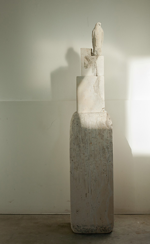"""Balzac Bird,"" 2011 Balzac stone and pigment 59 x 12 x 13 inches"