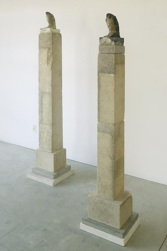 """""""Skyscraper,"""" Installation, 2011 Kiln cast pigmented glass and limestone 71 x 47 x 16 inches"""