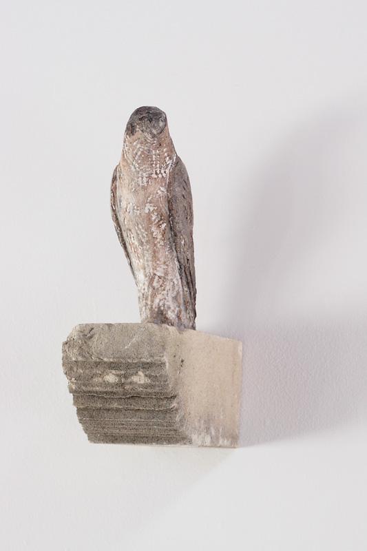 """""""Alex's Falcon,"""" 2009 Limestone and pigment 12 x 8.25 x 4 inches"""