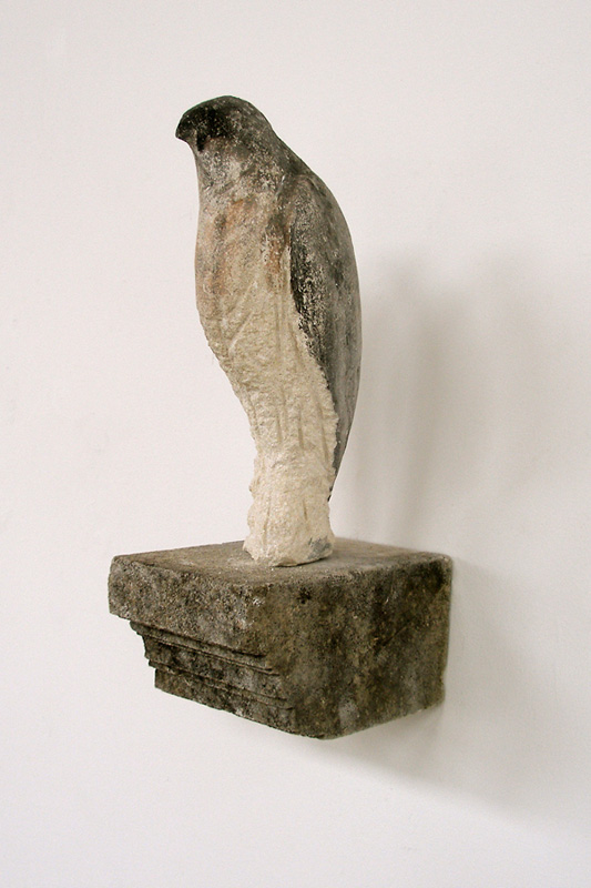 """Shelf Bird Left,"" 2009 Limestone and pigment 13 x 7 x 5 inches"