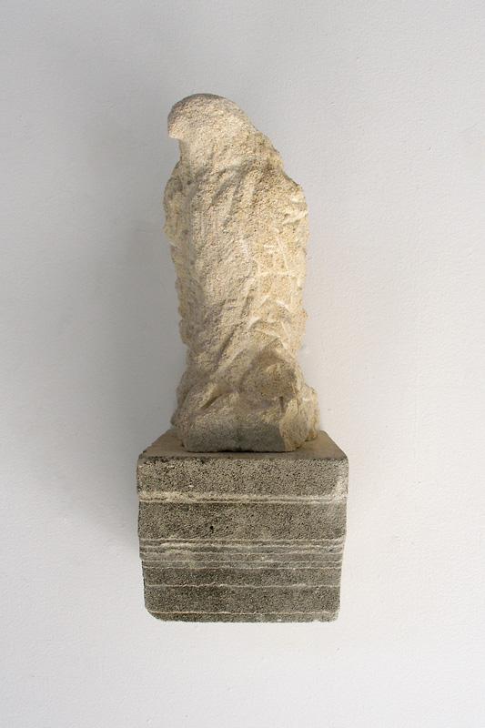 """Shelf Bird Right,"" 2009 Limestone and pigment 12 x 5 x 7 inches"