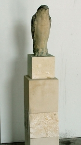 """White Bird with Space,"" 2008 Provencal limestone and pigment 57 x 10 x 12 inches"