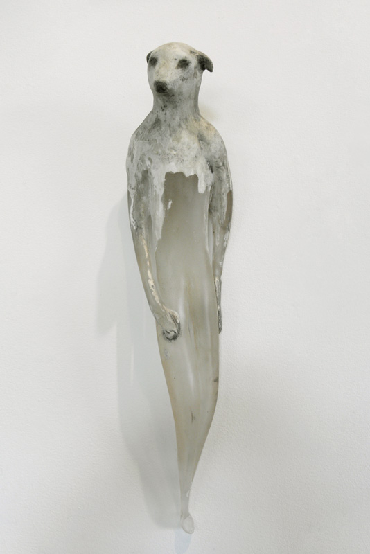 """Lamb Girl,"" 2010 Hand blown glass, marble mix, and sumi-e ink Gaffer: Ferd Theriot 23 x 5 x 5.5"