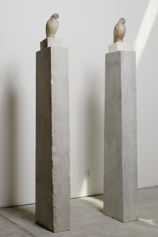 """Grey White Columns,"" 2010 (Installation) Hand blown glass and limestone Gaffer: Ross Richmond 90 x 48 x 8.5"