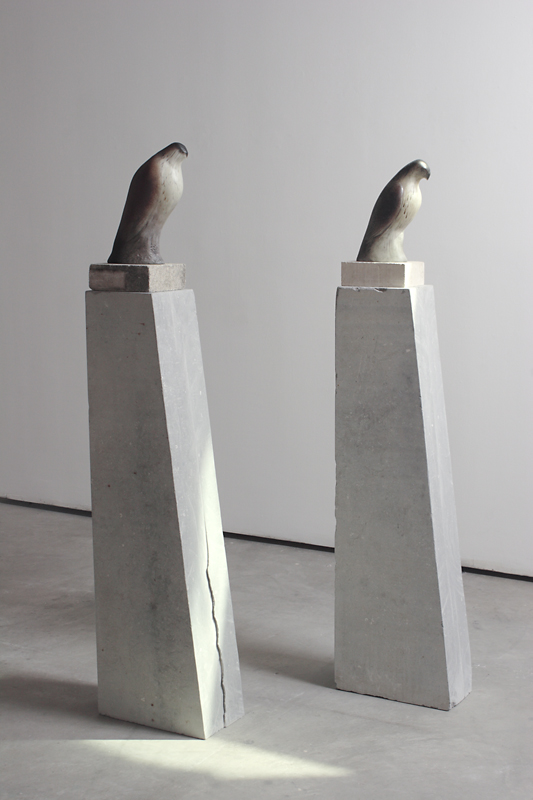 """Monk Birds,"" 2010 Hand blown pigmented glass and limestone Gaffer: Ross Richmond 64 x 8 x 14.5 (each)"