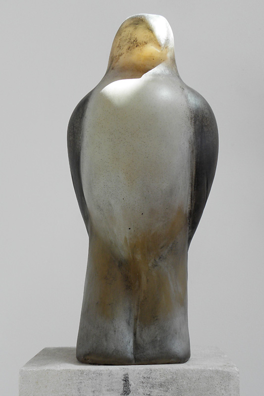 """Turtle Bird,"" 2009 Hand blown pigmented glass Gaffers: Ross Richmond & Kimberley Haugh 15.5 x 6.5 x 7 (Bird), 58.5 x 13.5 x 12 (with base)"