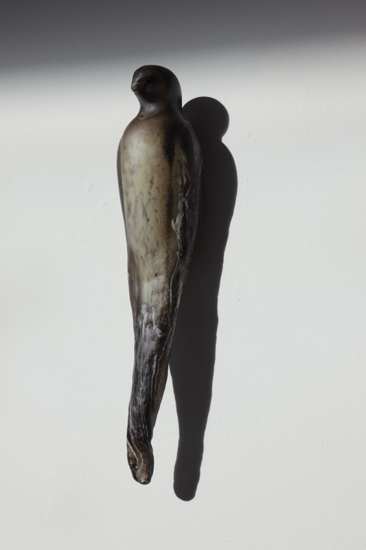 """Wood Falcon,"" 2010 Hand blown pigmented glass Gaffers: Ferdinand Theriot & Guido Gerlitz 19 x 4 x 5"