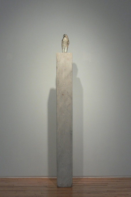 """Goshawk,"" 2008 (Installed at Danese, 2010) Hand blown pigmented glass and provencal limestone Gaffer: Karen Willenbrink-Johnsen 78 x 8 x 11"