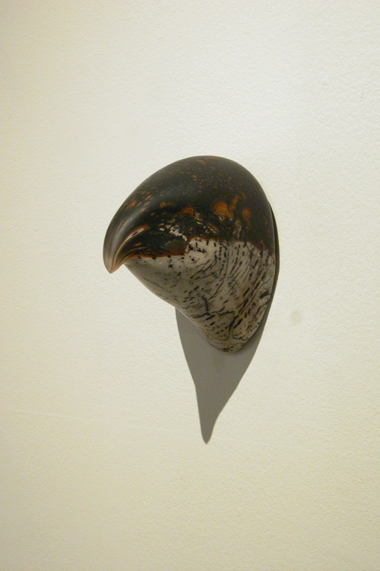 """Goshawk Head,"" 2008 Handblown glass and pigment Gaffer: Karen Willenbrink-Johnsen 6 x 4 x 5"