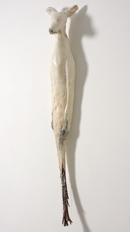 """Oh Deer,"" 2005-2007 Marble mix, willow and pigment 60 x 12 x 8 inches"