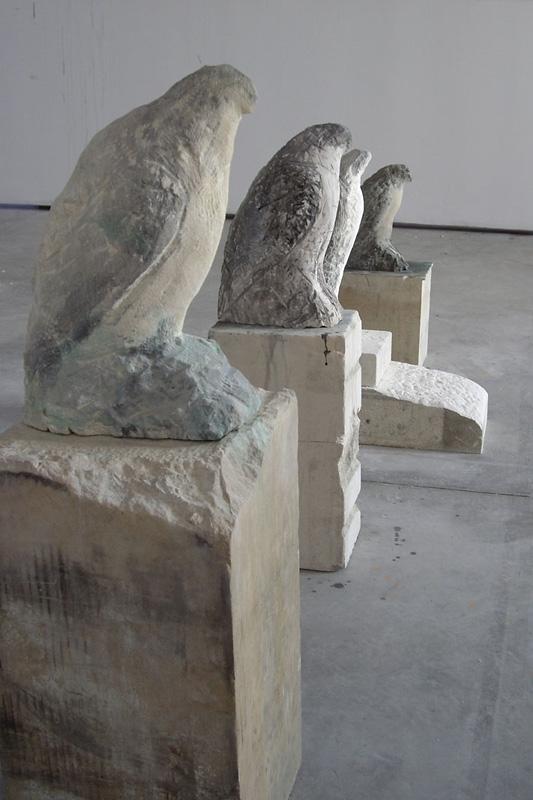 """Osprey,"" ""Egyptian Falcon,"" ""Bird Man,"" ""Amber,"" 2007 Provencal limestone, casein, and sumi ink Installation"