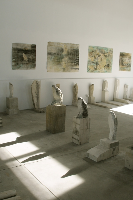 """Birds Gamut,"" 2007 Limestone and pigment Installation"