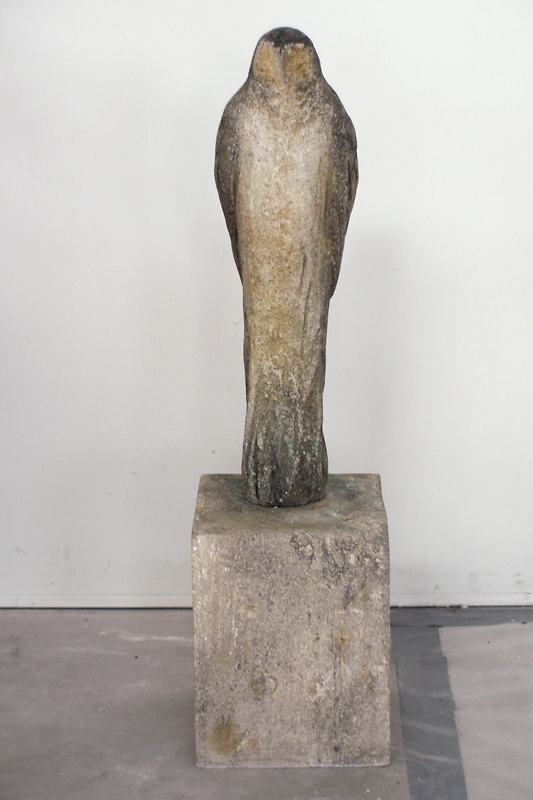 """Owl Girl,"" 2007 Provencal limestone, casein, and sumi ink 38 x 10 x 10 inches"
